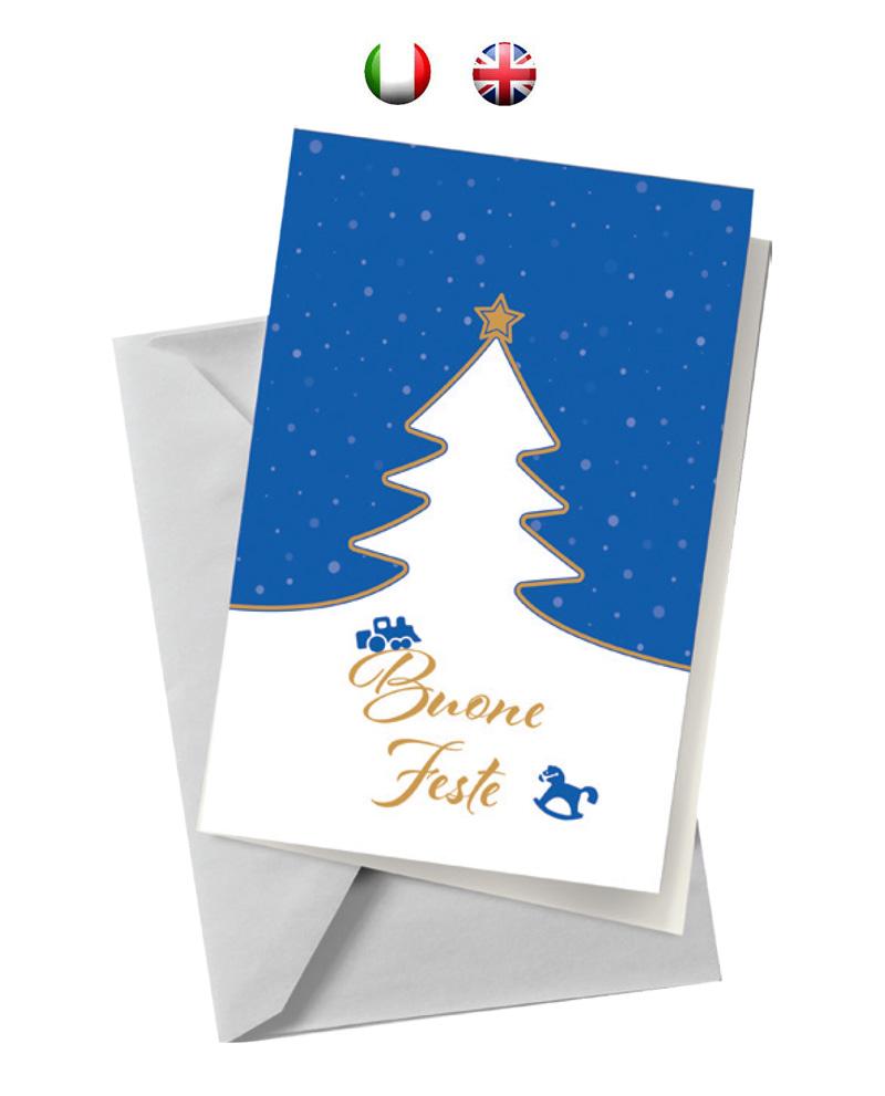 Biglietto blu con albero (BA02)